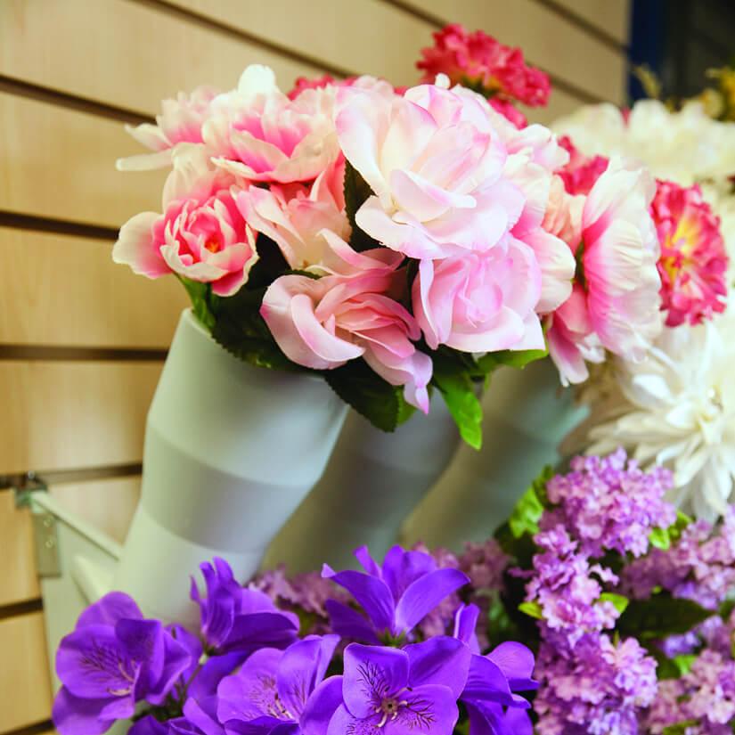 Modern Retail Display - Floral Bush Display Degree Angle Vases