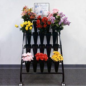 Modern Retail Display - Freestanding Floral Display Unit with waterproof vases