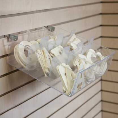 Modern Retail Display - Clear Plastic Organizer Bin for slatwall or pegboard