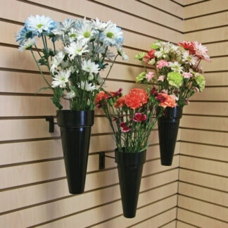 Modern Retail Display - Black Waterproof Floral Display Vase - Slatwall or Pegboard mount