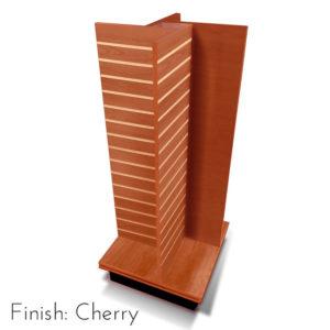 Modern Retail Display Fixture - 4 Way Slatwall Retail Display Unit with swivel base - Finish Cherry