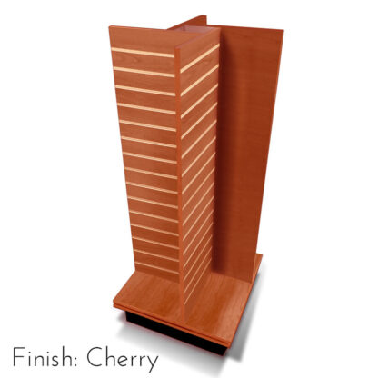 Modern Retail Display Fixture - 4 Way Slatwall Retail Display Unit with swivel base - Finish Cherry