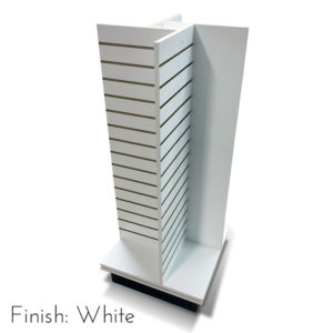 Modern Retail Display Fixture - 4 Way Slatwall Retail Display Unit with swivel base - Finish White