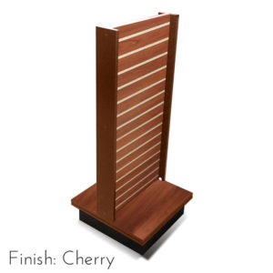 Modern Retail Display Fixture - Slatwall Retail Display Unit with swivel base - Finish Cherry