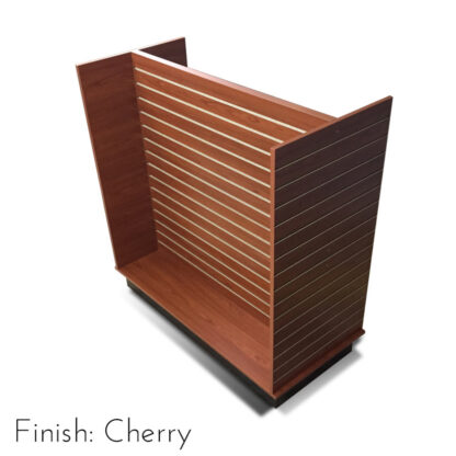 Modern Retail Display Fixture - H Unit Slatwall Retail Display Unit - Finish Cherry