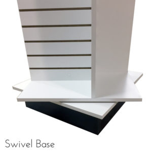 Modern Retail Display Fixture - 4 Way Slatwall Retail Display Unit with swivel base