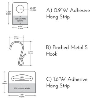 Modern Retail Display Adhesive Hang Tags and S Hooks